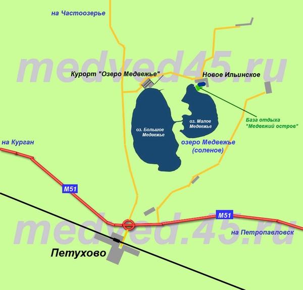 Где находится база отдыха «Медвежий остров» на Медвежьем озере (Курганская область, Петуховский район) - Карта района