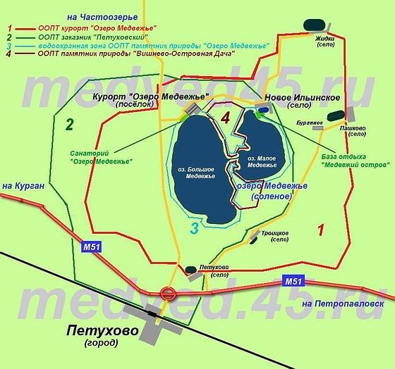 Курорт «Озеро Медвежье» (Курганская область, Петуховский район) - Карта курорта