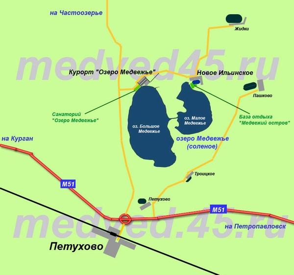 Озеро Медвежье (Курганская область, Петуховский район) - Карта района